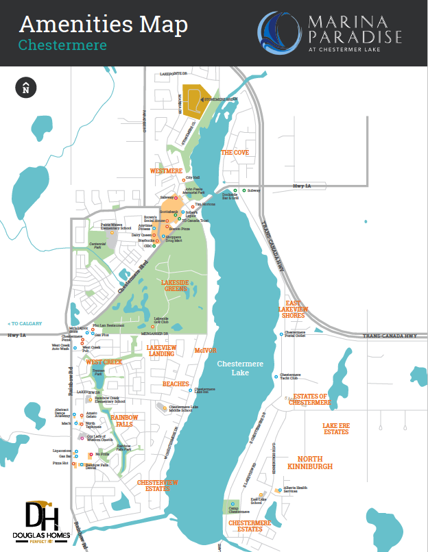Marina Paradise at Chestermere Lake Amenities Map